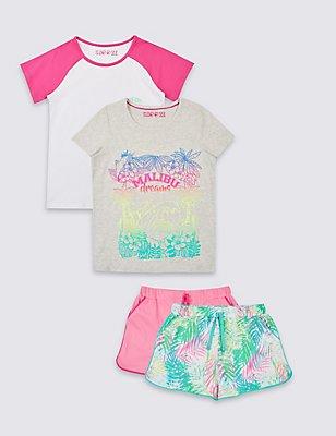 Set van 2 korte pyjama's van puur katoen (3-16 jaar), GRIJS MIX, catlanding
