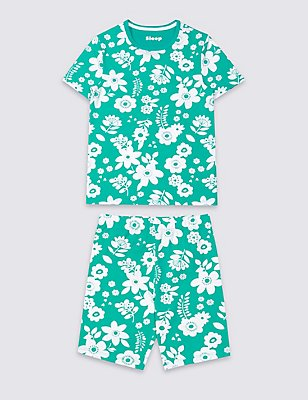 Cotton Floral Print Short Pyjamas with Stretch (1-16 Years), GREEN MIX, catlanding