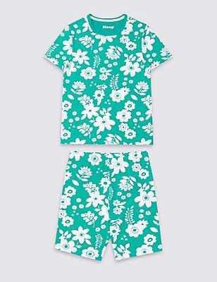 Katoenen korte stretchpyjama met bloemenprint (1-16 jaar), GROEN MIX, catlanding