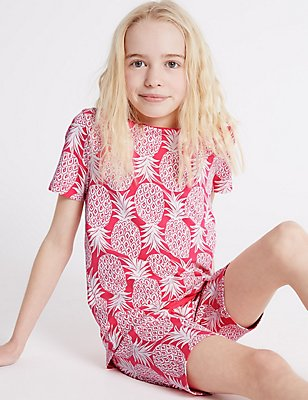 Cotton Printed Short Pyjamas with Stretch (1-16 Years), PINK MIX, catlanding