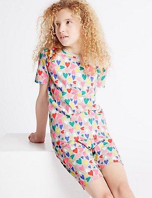 All Over Heart Print Short Pyjamas (1-16 Years), GREY MIX, catlanding
