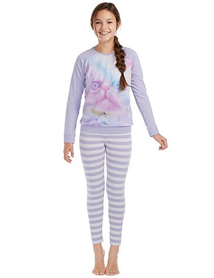Cotton Rich Cosy Fit Stay Soft Pyjamas (6-16 Years), PURPLE MIX, catlanding
