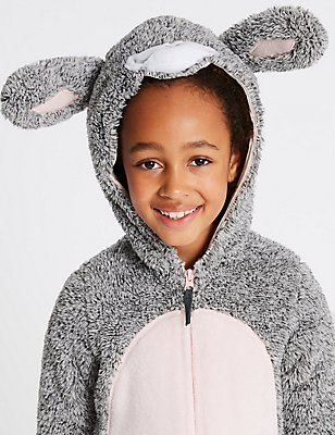 Bunny Hooded Onesie (1-16 Years), GREY MIX, catlanding