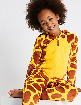 Giraffe Print Hooded Onesie (1-16 Years), YELLOW MIX, catlanding
