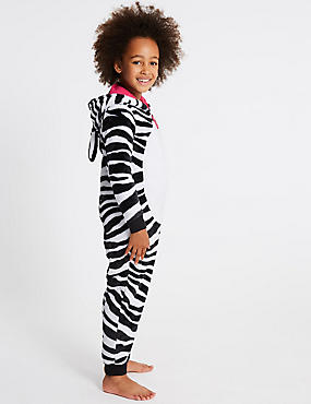 Zebra Print Hooded Onesie (1-16 Years), BLACK MIX, catlanding