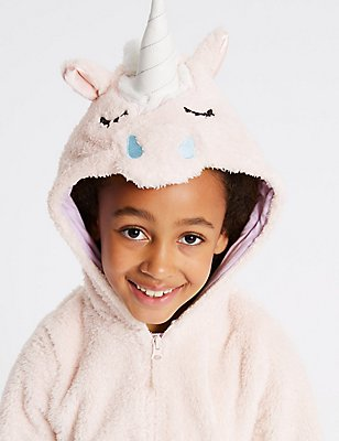 Unicorn Hooded Onesie (1-16 Years), PINK MIX, catlanding