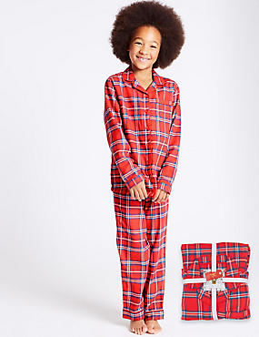 Cotton Rich checked Pyjamas (1-16 Years), RED MIX, catlanding