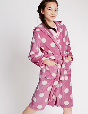 Long Sleeve Spotted Dressing Gown (1-16 Years), BRIGHT PINK, catlanding