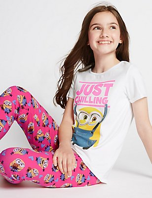 Cotton Rich Despicable Me™ Minion Pyjamas (3-14 Years), GREY MIX, catlanding