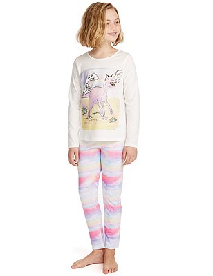 Dino Print Stay Soft Pyjamas (6-16 Years), LILAC MIX, catlanding
