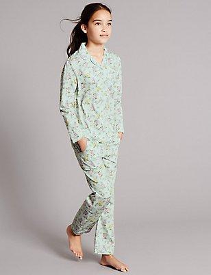 Pure Cotton Floral Print Pyjamas (1-16 Years), GREEN MIX, catlanding