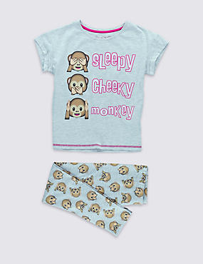 Slim Fit Emoji Print Pyjamas (6-16 Years)