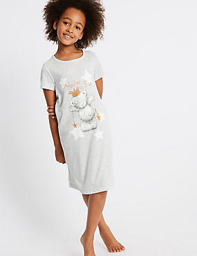 Printed Nightdress (6-16 Years), GREY MIX, catlanding