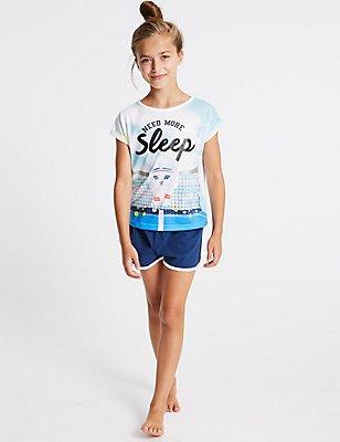 Printed Short Pyjamas (3-16 Years), BLUE MIX, catlanding