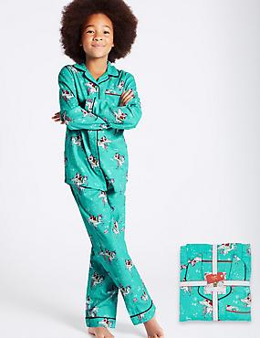 Cotton Unicorn Print Pyjamas (1-16 Years), AQUA, catlanding