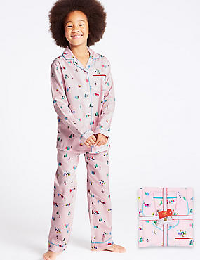 Pure Cotton Snow Scene Pyjamas (1-16 Years), PINK MIX, catlanding
