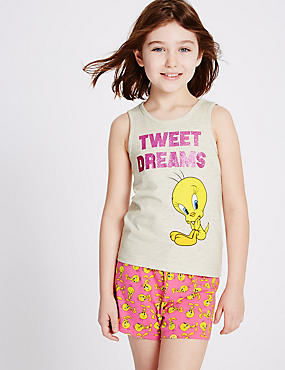 Tweety Short Pyjamas (6-16 Years), PINK MIX, catlanding