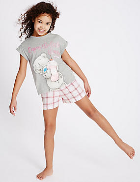 Pure Cotton Short Pyjamas (1-16 Years), GREY MIX, catlanding