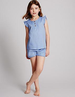 Korte puur katoenen pyjama (1-16 jaar), BLAUW MIX, catlanding