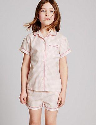 Pure Cotton Short Pyjamas (1-16 Years), PINK MIX, catlanding