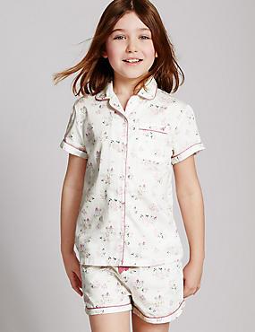 Korte puur katoenen pyjama (1-16 jaar), WIT MIX, catlanding
