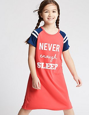 Short Sleeve Slogan Nightdress (3-16 Years), CORAL MIX, catlanding