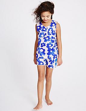 Pure Cotton Short Pyjamas (3-16 Years), BRIGHT BLUE MIX, catlanding