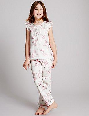 Pure Cotton Pyjamas (1-16 Years), WHITE MIX, catlanding