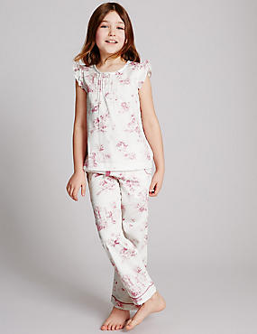 Pure Cotton Pyjamas (1-16 Years), WHITE MIX, catlanding