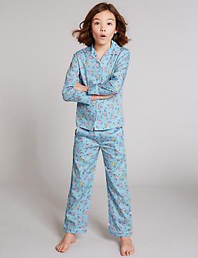 Pyjama van puur katoen (1-16 jaar), BLAUW MIX, catlanding