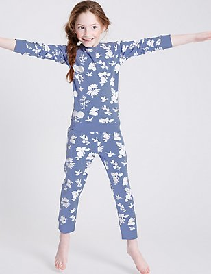 Floral Print Pyjamas (3-16 years), INDIGO MIX, catlanding
