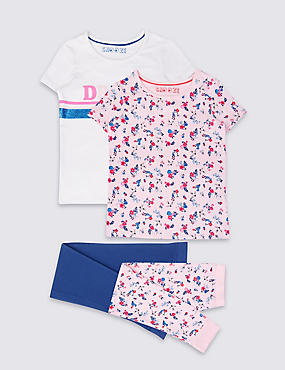 2 Pack Printed Pyjamas (3-16 Years), MULTI, catlanding