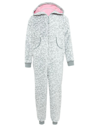 Hooded Burnout Leopard Print Fleece Soft & Cosy Onesie (5-14 Years) Clothing