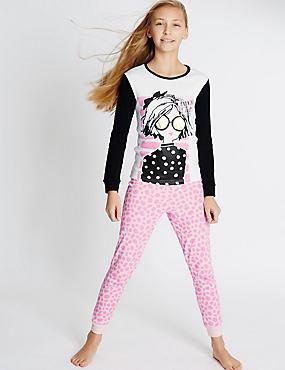 2 Pack Pure Cotton Assorted Pyjamas (6-16 Years), MULTI, catlanding