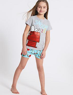 Snoopy™ Printed Short Pyjamas (7-16 Years), LIGHT GREY MIX, catlanding