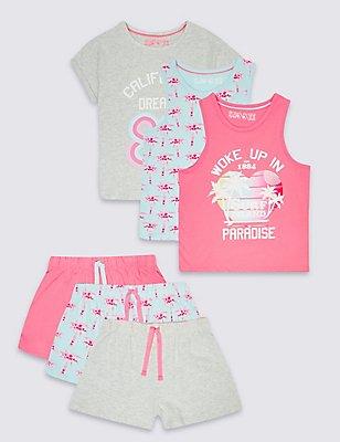 3 Pack Printed Short Pyjamas (3-14 Years), GREY MIX, catlanding