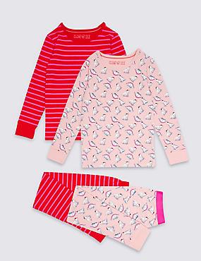 2 Pack Cotton Rich Pyjamas (3-16 Years), PINK MIX, catlanding
