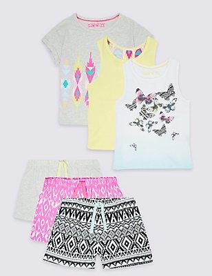 3 Pack Pure Cotton Short Pyjamas (3-14 Years), LEMON MIX, catlanding