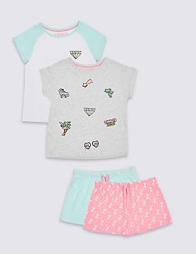 2 Pack Short Pyjamas (3-16 Years), AQUA MIX, catlanding