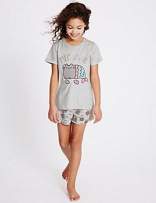 Pusheen Short Pyjamas (9-16 Years), GREY MIX, catlanding