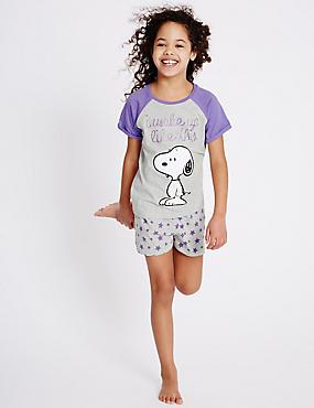 Korte pyjama met print van Snoopy™ (6-16 jaar), WIT MIX, catlanding