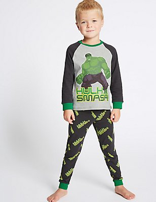 Avengers™ Cotton Pyjamas with Stretch (2-10 Years), GREY MIX, catlanding