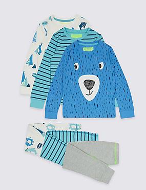 3 Pack Cotton Rich Printed Pyjamas (9 Months - 8 Years), MULTI, catlanding