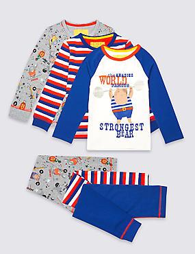 3 Pack Printed Pyjamas (9 Months - 8 Years), BLUE MIX, catlanding