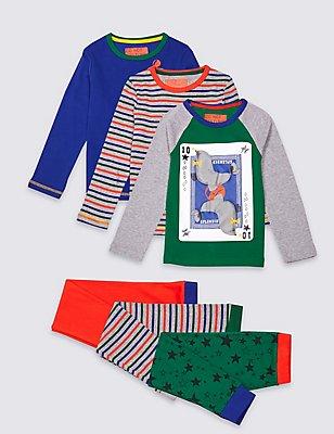 3 Pack Printed Pyjamas (9 Months - 8 Years), GREY MIX, catlanding