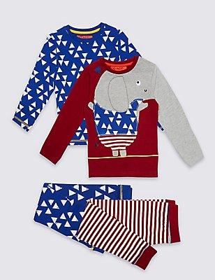 Set van 2 katoenrijke pyjama's (9 maanden-8 jaar), DONKER ROOD MIX, catlanding