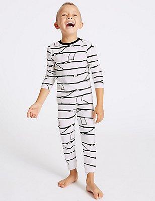 Printed Pyjamas (9 Months - 8 Years), WHITE MIX, catlanding