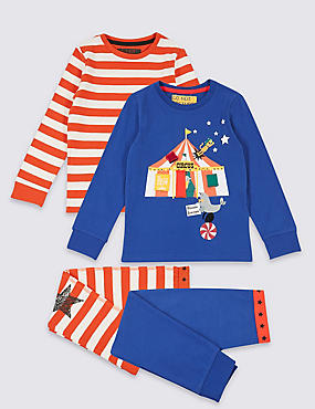 2 Pack Cotton Pyjamas with Stretch (9 Months - 8 Years), BLUE MIX, catlanding