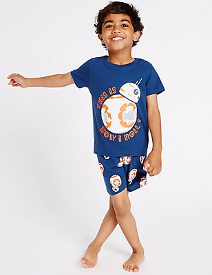 Pure Cotton Star Wars™ Short Pyjamas (1-8 Years), BLUE MIX, catlanding