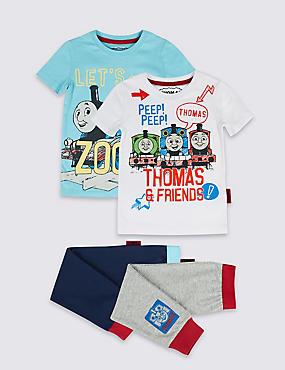 Thomas & Friends™ 2 Pack Pure Cotton Pyjamas (1-6 Years), BLUE MIX, catlanding